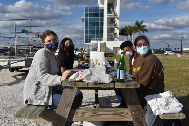 SS4C team members at Nathan Benderson Park creating tiles for Our Climate Florida's upcoming Manatee Mosaic project